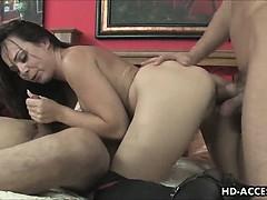Hot Brunette Pornstar In Double Penetration