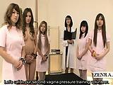 Subtitled Japanese nurses handjob harem demonstration
