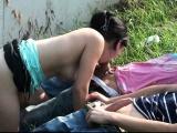 Teenage girl PUBLIC gangbang