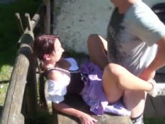 Young German Bavarien Teen Get Fucked Outdoor By Step dad