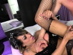 Huge Boobs Tranny Ass Fucked By Hot Guy On The Bed