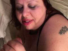 Chubby mature sucking dick like a hooker