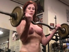 mature-redhead-cat-desade-works-out-topless