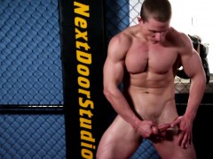 Athletic Ripped Hunk Strokes His Thick Cock