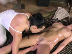 Busty Massage Babe Fingered By Lesbian