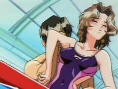 Hentai babe in swimsuit gets fucked in the pool