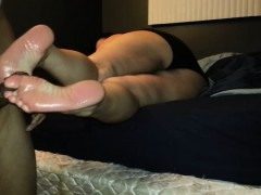 Homemade Footjob Ends with Cum