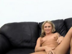 Slutty Blonde Spinner Gets Pounded, Gets Anal Creampie