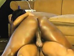 Oiled Huge Butt Black Woman Rides A Bbc