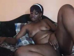 Chubby Ebony Lies On Her Bed Facing The Webcam And Showing
