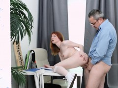 tricky old teacher – old teacher tricks sexy red into sex