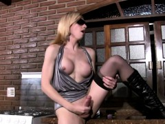 Feminine Teen Ts Works On Her Thick Ladystick In The Kitchen