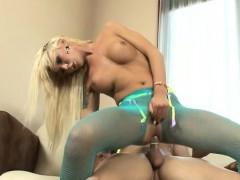 Busty Blonde Tranny Aubrey Kate In Pantyhose Analyzed