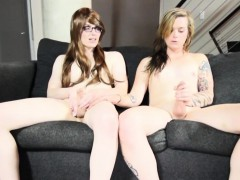 Tattooed Shemale Bangs Tgirl With Glasses