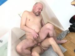 Rimmed Twink Fucks Mature Ass Raw In Bathroom