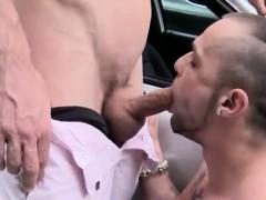 Horny gay guys sucking fucking in threesome