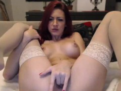 big-tits-redhead-camgirl-in-stocking-fingering-pussy