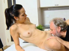 hot young sweetheart drilled by old lad