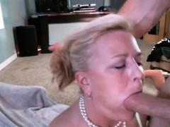 Blonde Milfy Getting A Mouthful Of Cum