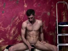 Muscled Jock Wanking Off With Fleshlight