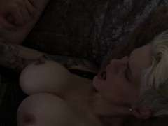 Short Hair Blonde Wife With Big Juggs Gets Her Shaved Pussy