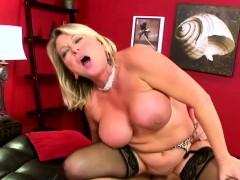 Ripe Plump Blonde In Black Stockings