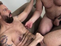 Hunky mature deepthroats veiny cock