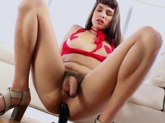 Tranny Alexa Scout Sits On A Black Dildo And Jerks Off Cock