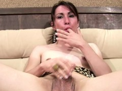 Honeyed Up Shemale Teases Her Ladystick Until A Loud Cumload