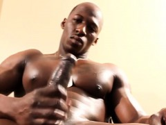 Ripped Athletic Black Enjoying Solo