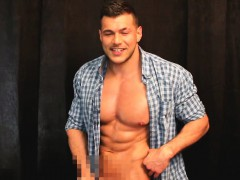 Naughty Naked Hunk Wanking And Flexing In The Work Shirt