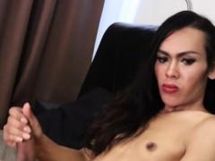 Ladyboy Beauty Solo Jerking Her Uncut Cock