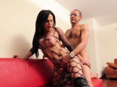 latina-shemale-tugs-her-cock-while-assfucked