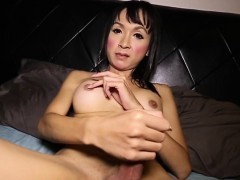 Busty Ladyboy Tugging Hard Cock Before Cum