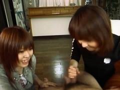 subtitled-japanese-cfnm-femdom-duo-with-handjob-cumshot
