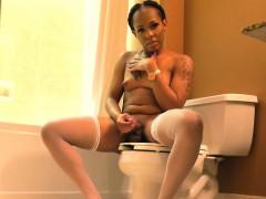 Ebony Tgirl Tugging Her Cock In The Bathroom