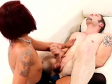 Black strapon mistress pegs white sub roughly