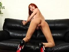 Pretty Redhead Ladyboy Solo Pleasing Herself