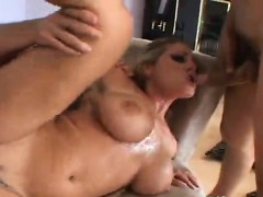 Hot Threesome for a Blonde Chick and Two Big Dicks