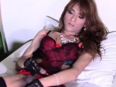 Glamcore Ladyboy Masturbating Passionately