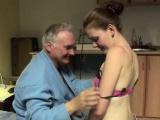 Horny grandpa licks and fucks a teen's shaved slit