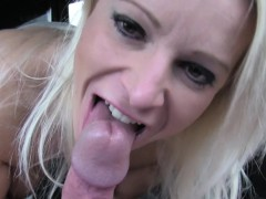 Natural Busty Blonde In Stockings Footjob