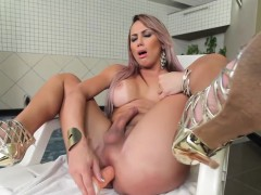 Tanlined Latina Tgirl Tugging In Bathroom