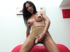 Bigtitted Latina Shemale Tugging Her Dick