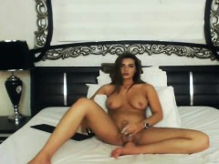 Pretty Hot Shemale Jerks Her Big Cock