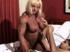 Muscle Woman Giving Handjob