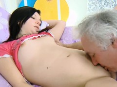 Moist Young Babe Enjoys Getting Old Knob In Pussy