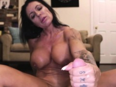 Mature Big Tits Brunette Gives Handjob