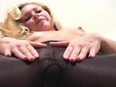 Solo Girl Fingers Horny Cum hole Through Pantyhose