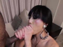Asian Tranny Takes Big Black Cock